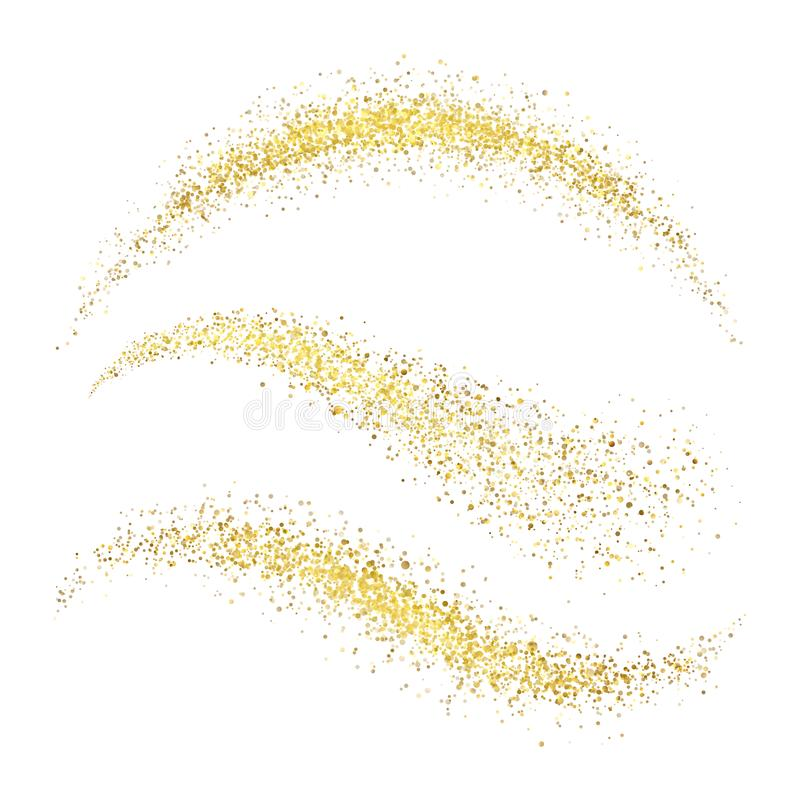 Free Fairy Christmas Golden Stardust. Glamour Gold Waves With Glittering Stock Photography - 101079912