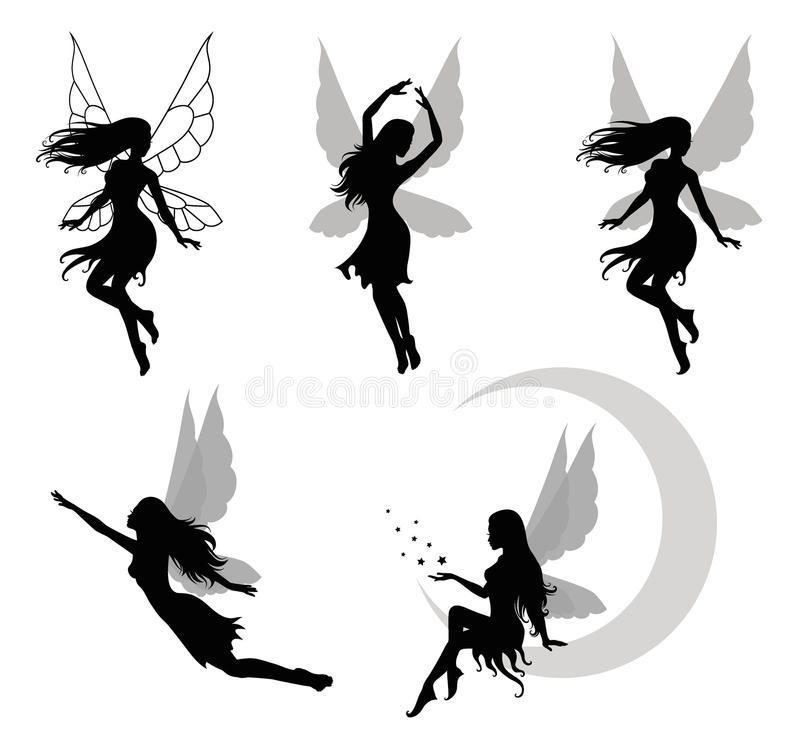 Fairy. Collections of vector silhouettes of a fairy