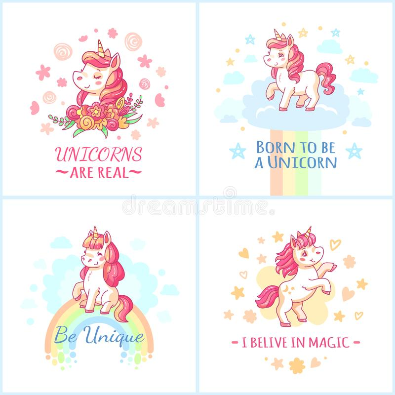 Fairy unicorn poster. Sweet rainbow magic unicorns from happy dreams printable posters vector set vector illustration