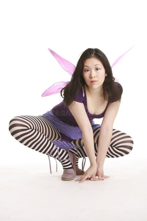 Fairy com asas cor-de-rosa fotografia de stock