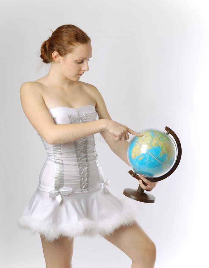 Fairy com globo terrestre imagens de stock royalty free