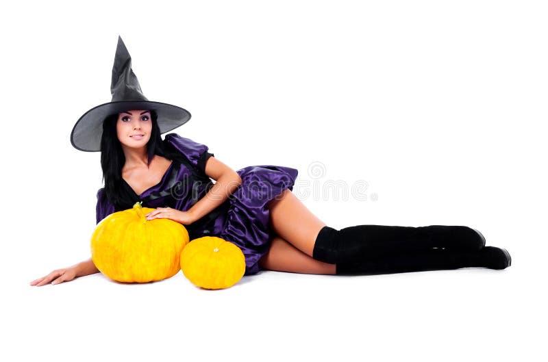Fairy con le zucche fotografia stock libera da diritti