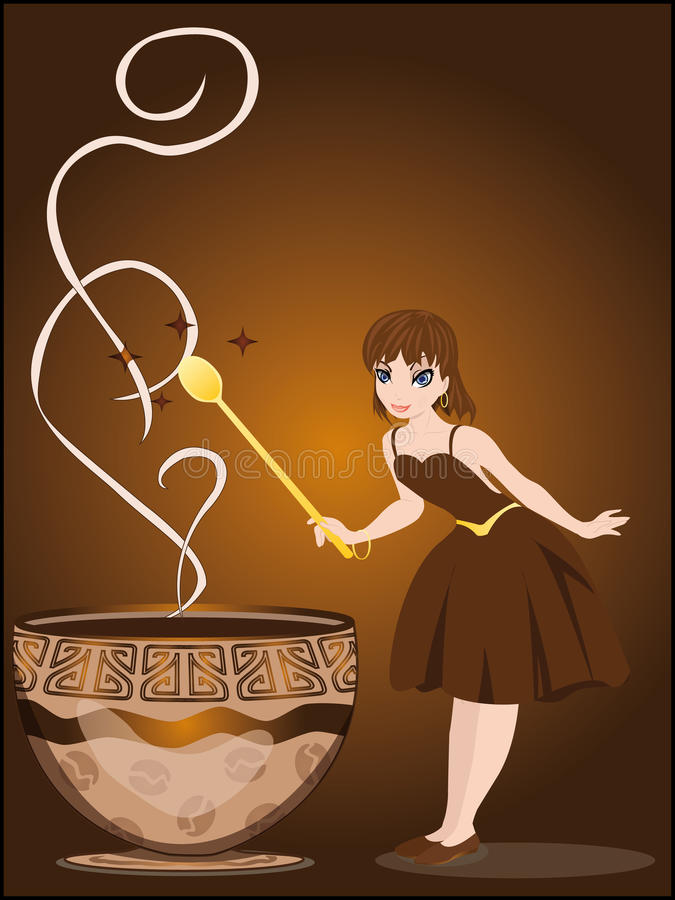 The fairy conjures with a cup of coffee royalty free illustration