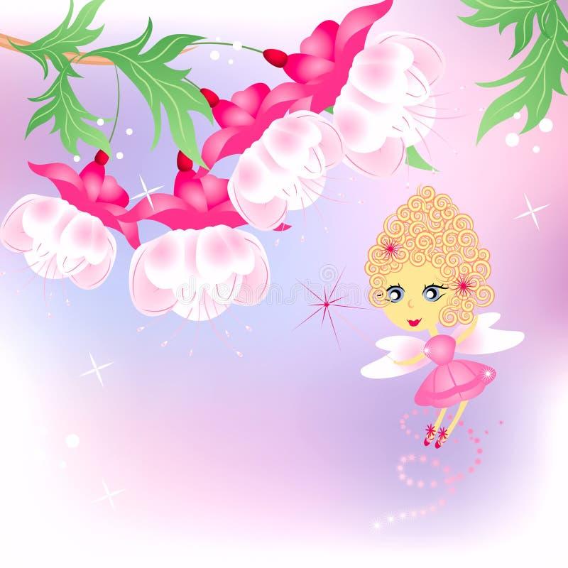 Fairy cor-de-rosa com flores ilustração stock