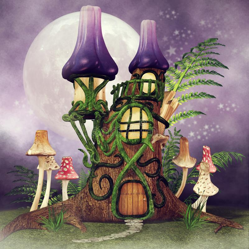 Fairy cottage with fern. Colorful night scene with a fairy cottage, mushrooms and green fern vector illustration