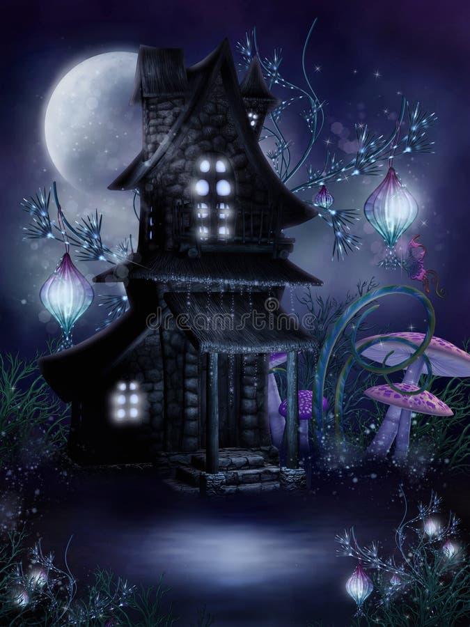 Fairy cottage at night stock illustration
