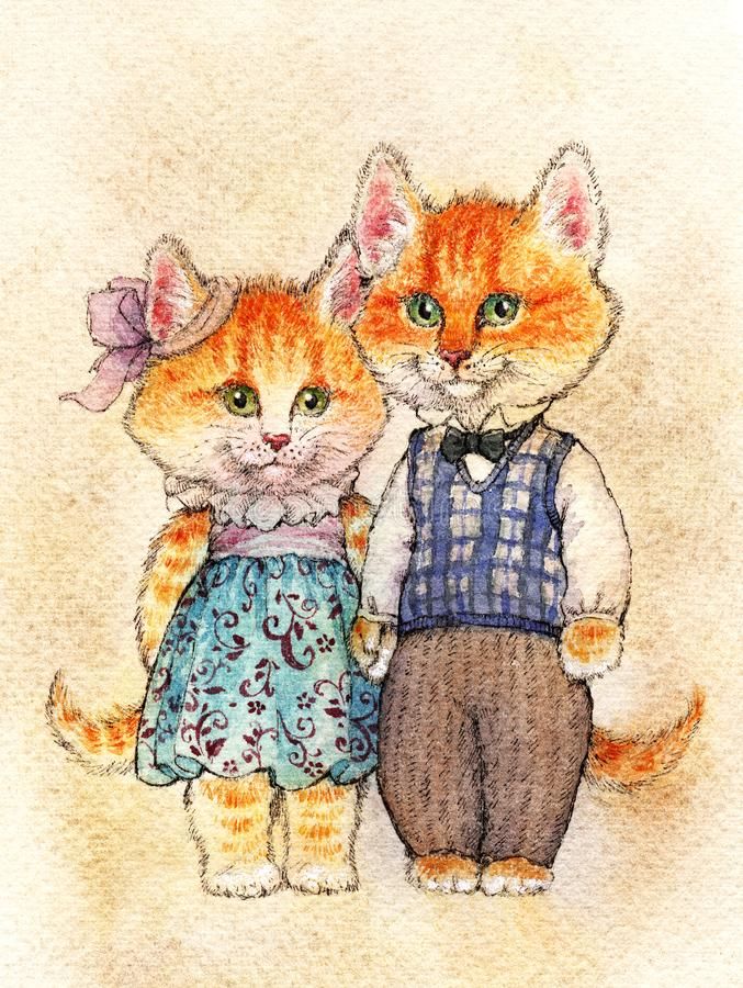 Fairy couple of cats. A pair of red fluffy kittens with pink shushes and green eyes stand in clothes (a dress with lace and royalty free illustration