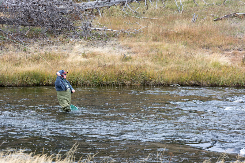 FAIRY CREEK, YELLOWSTONE/USA - SEPTEMBER 28 : Fly fishing in Fairy Creek Yellowstone on September 28, 2013. Unidentified man. stock photo