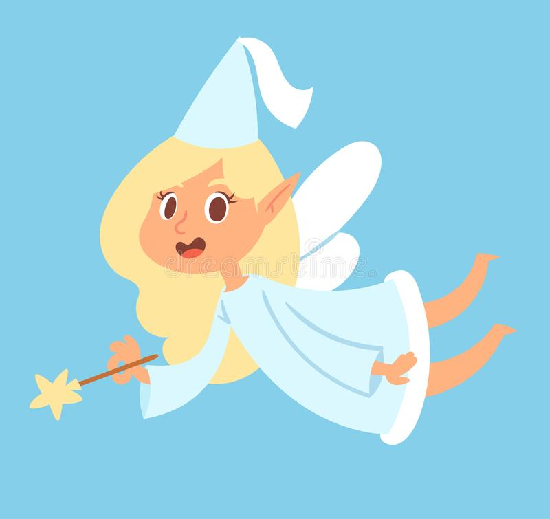 Fairy cute vector girl princess character adorable beauty fairy-tale angel with wings and magic wand fly illustration vector illustration