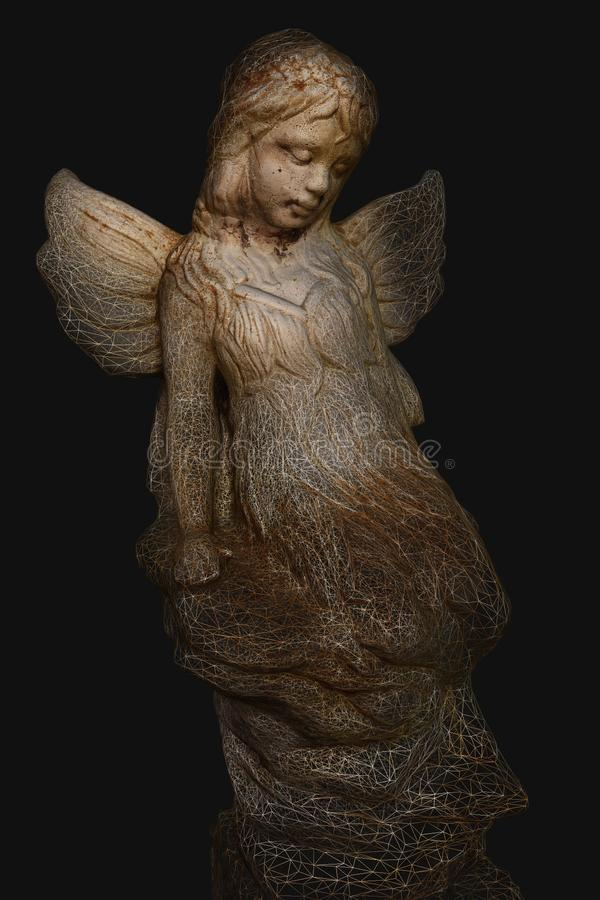 Fairy 3D Model showing wireframe. Fairy angel statue 3D Model showing object wireframe. Technology evolution art. artificial intelligence and robotics stock images