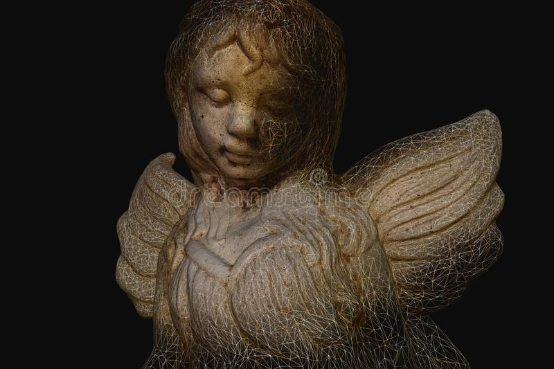 Fairy 3D Model showing wireframe. Fairy angel statue 3D Model showing object wireframe. Technology evolution art. artificial intelligence and robotics stock image