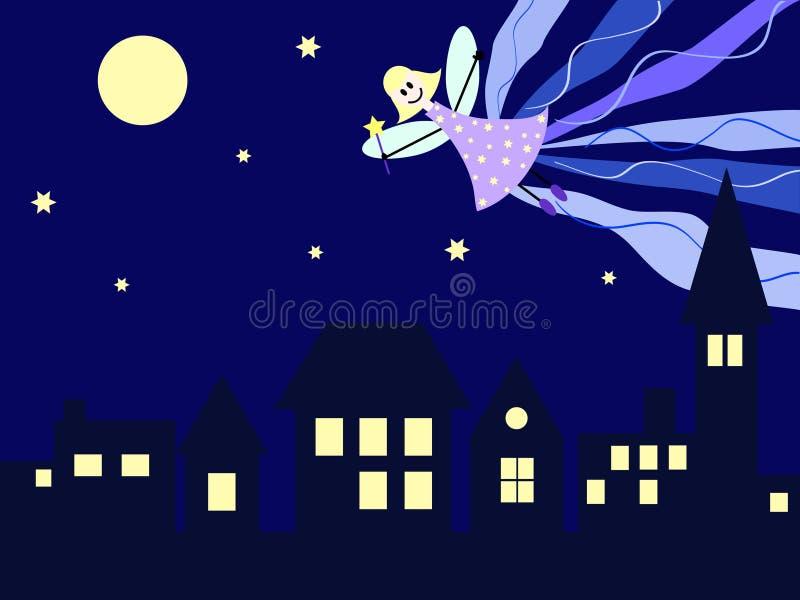 Fairy da noite sobre a cidade ilustração stock