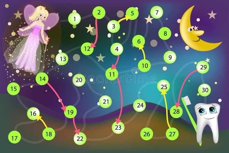 Fairy de dente Jogo de mesa com dados ilustração royalty free