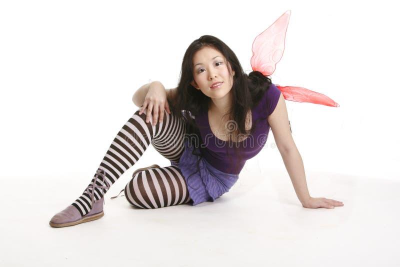 Fairy de sorriso com asas cor-de-rosa imagens de stock