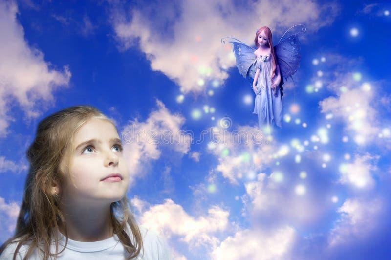 Fairy dell'elfo e della ragazza fotografia stock libera da diritti