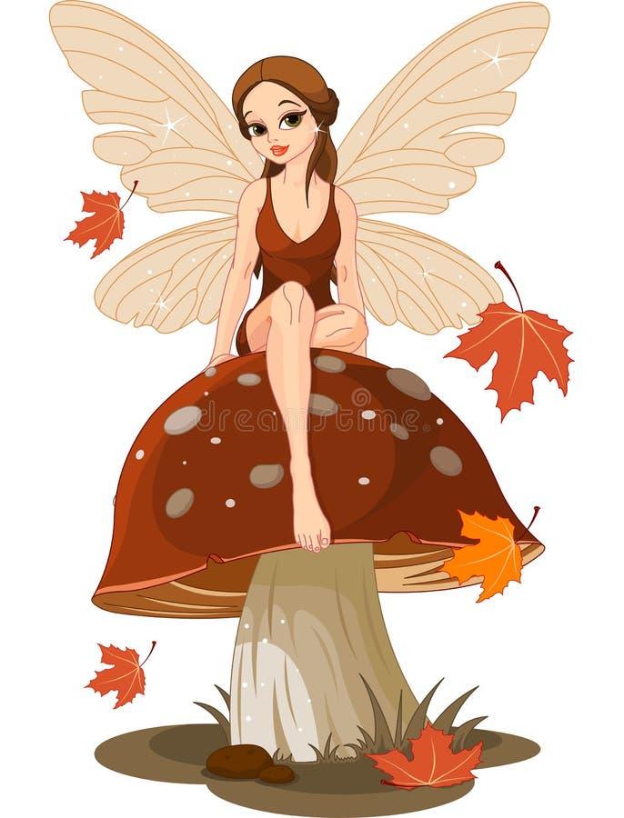 Fairy di autunno sul fungo illustrazione vettoriale