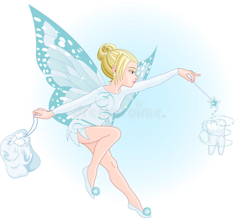 Fairy di dente con la bacchetta magica illustrazione vettoriale