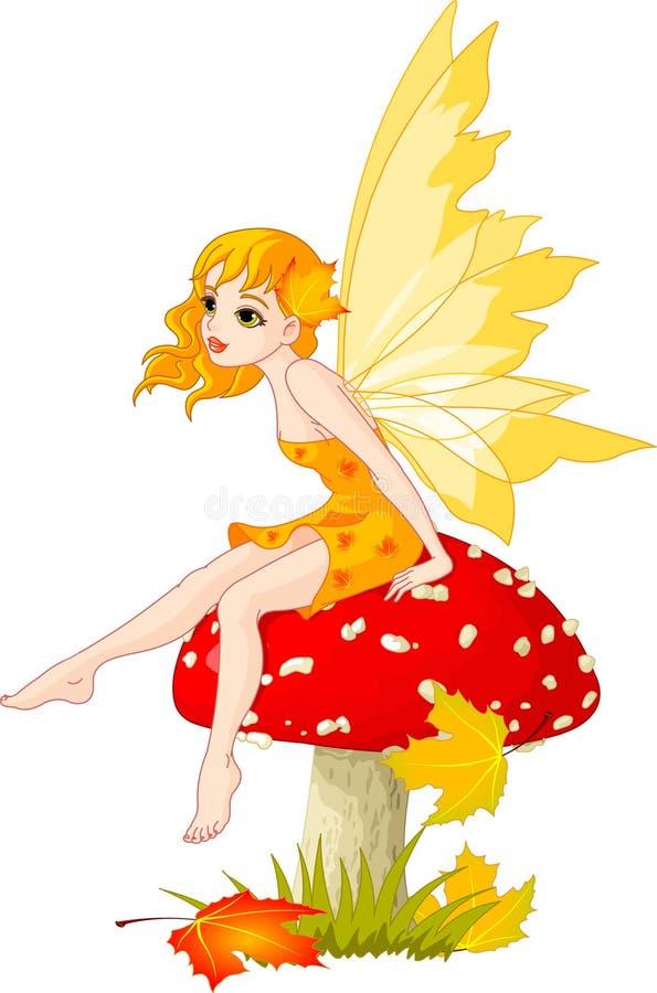 Fairy do outono no cogumelo ilustração stock