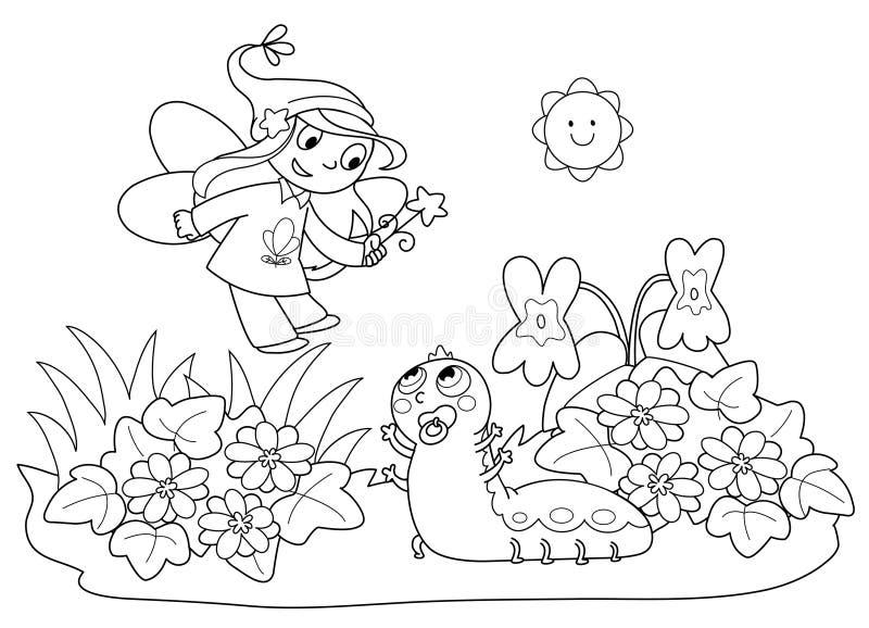 Fairy do vôo e lagarta bonito imagens de stock royalty free