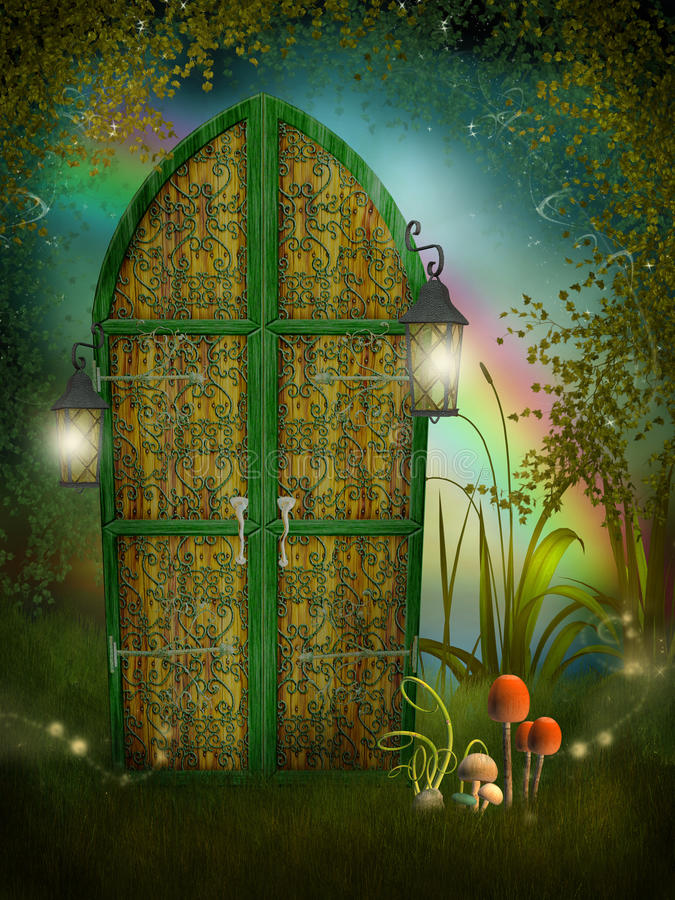 Fairy door with lamps. Fairy garden with a door and lamps stock illustration