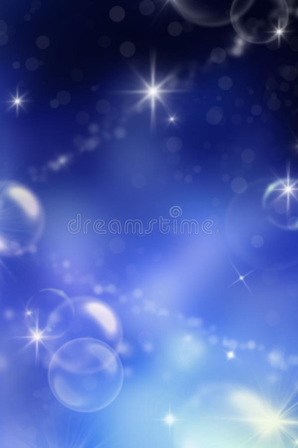 Fairy fantasy background with stars, planets and bubbles in galaxy. Magic night sky background with blurred fog with bokeh effect stock illustration