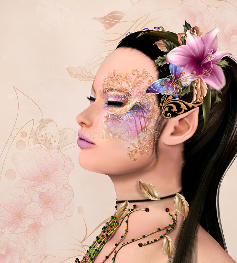 Fairy with fantasy make up vector illustration