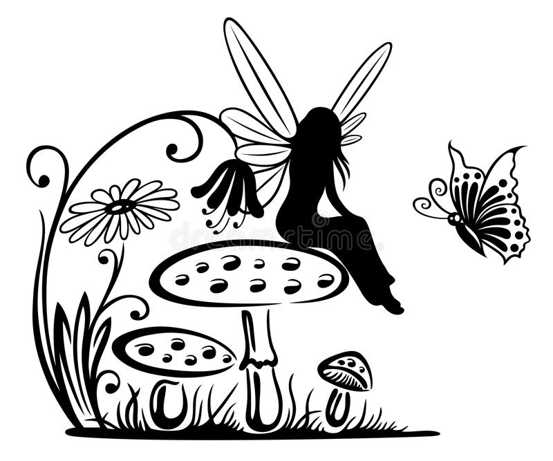 Fairy, fantasy. Fairy on a mushroom, fantasy meadow vector illustration