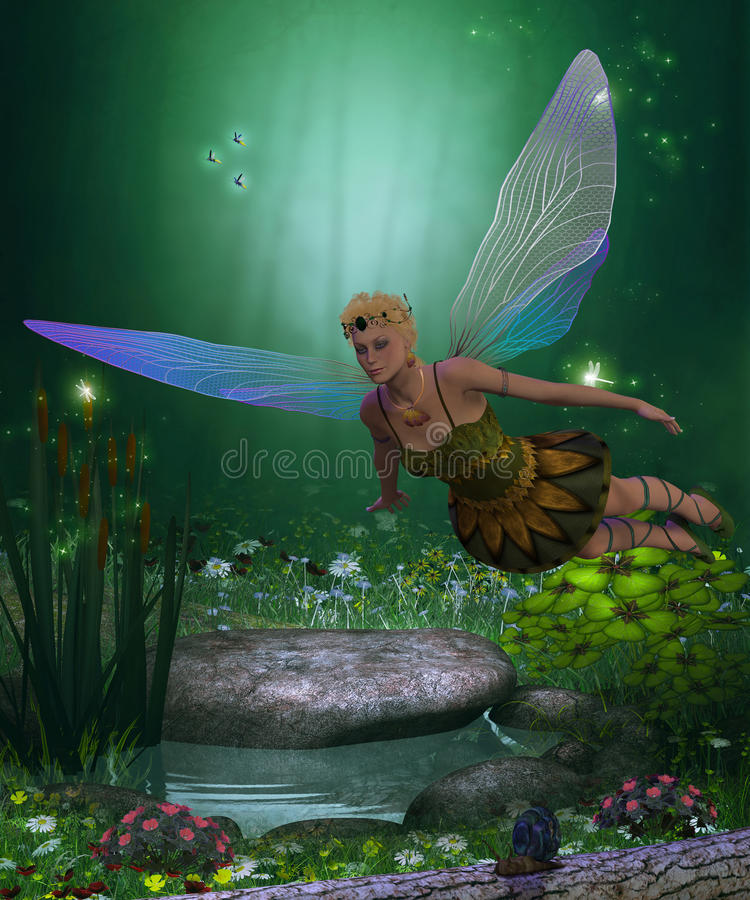 Fairy in Flight. A winged fairy flies over a magical forest pond on iridescent wings vector illustration