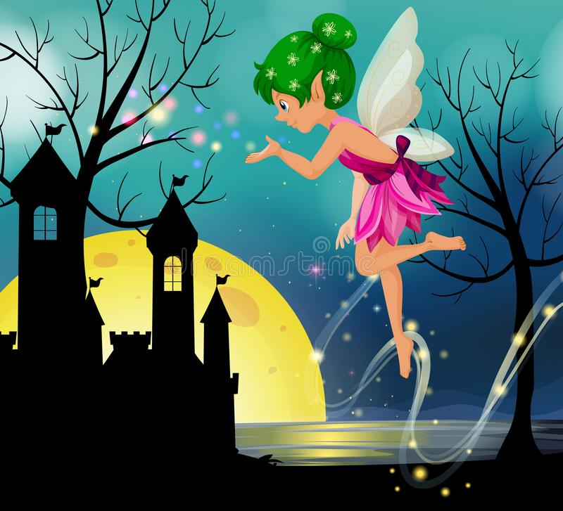 Fairy flying around castle at nighttime vector illustration