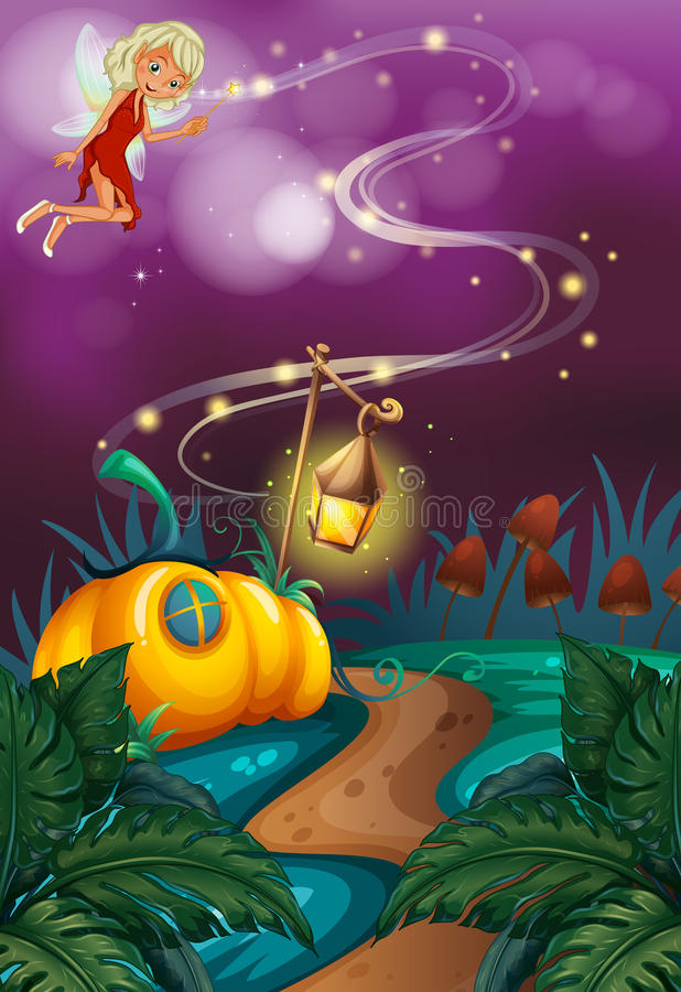 Fairy flying in garden at night. Illustration royalty free illustration