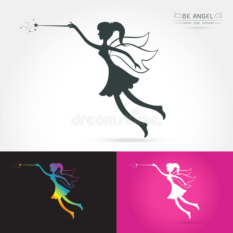 Fairy flying logo. Vector icon cartoon style. Fairy black silhouette holding a magic wand with magic sparkle. Vector illustration of Fairy with a magic wand vector illustration