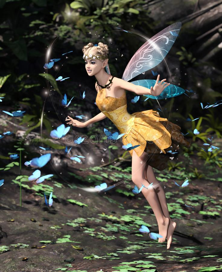 A fairy flying in a magical forest vector illustration