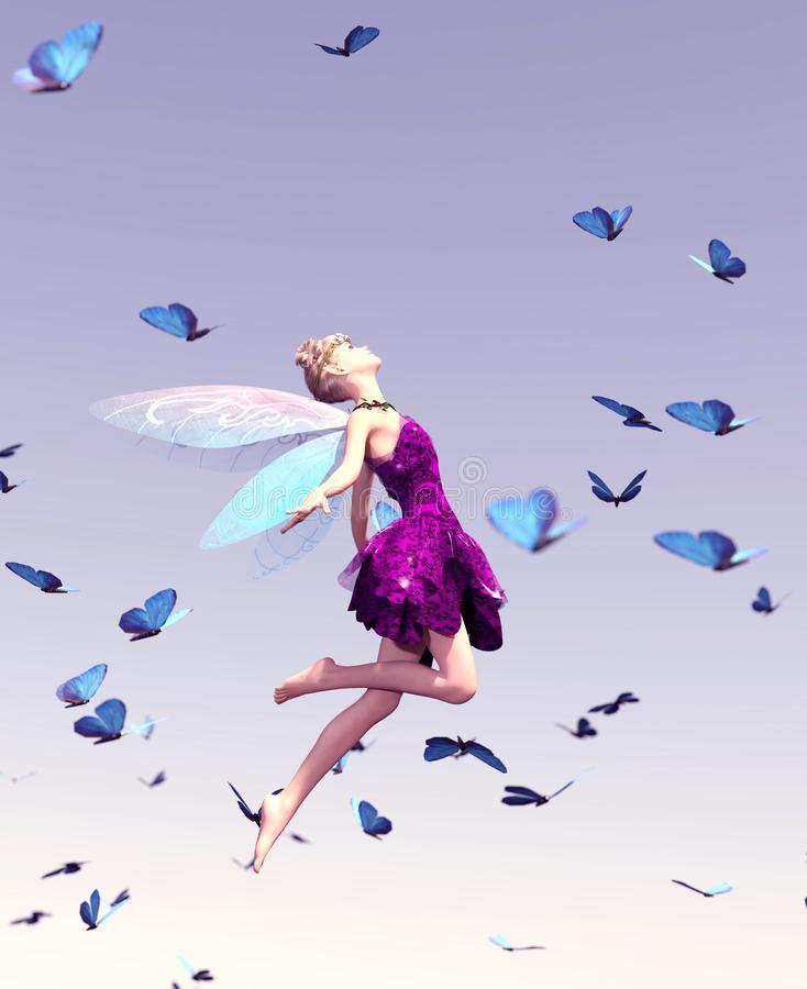 A fairy flying on the sky stock illustration