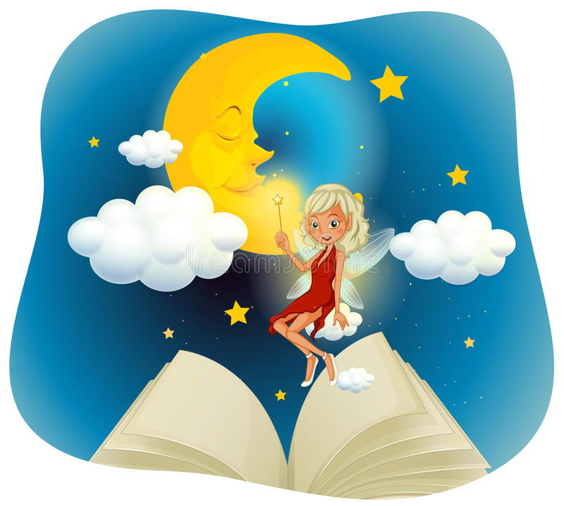 Fairy flying in the sky at night time royalty free illustration