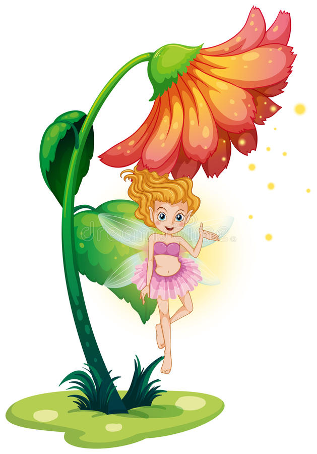 Download A Fairy Flying Under The Giant Flower Stock Vector - Image: 32521519