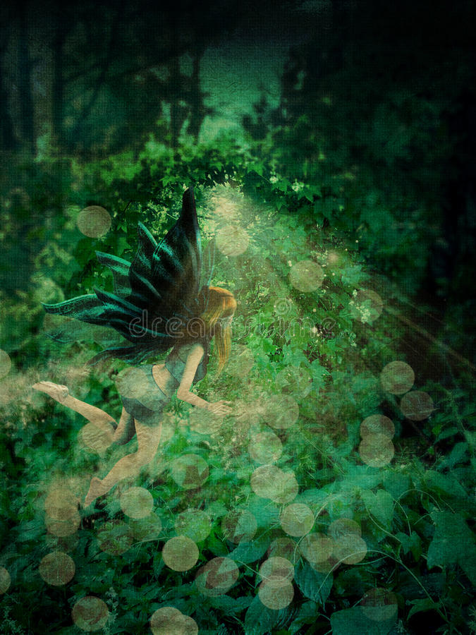 Fairy in the forest. Abstract illustration of fiary fly in the forest stock illustration