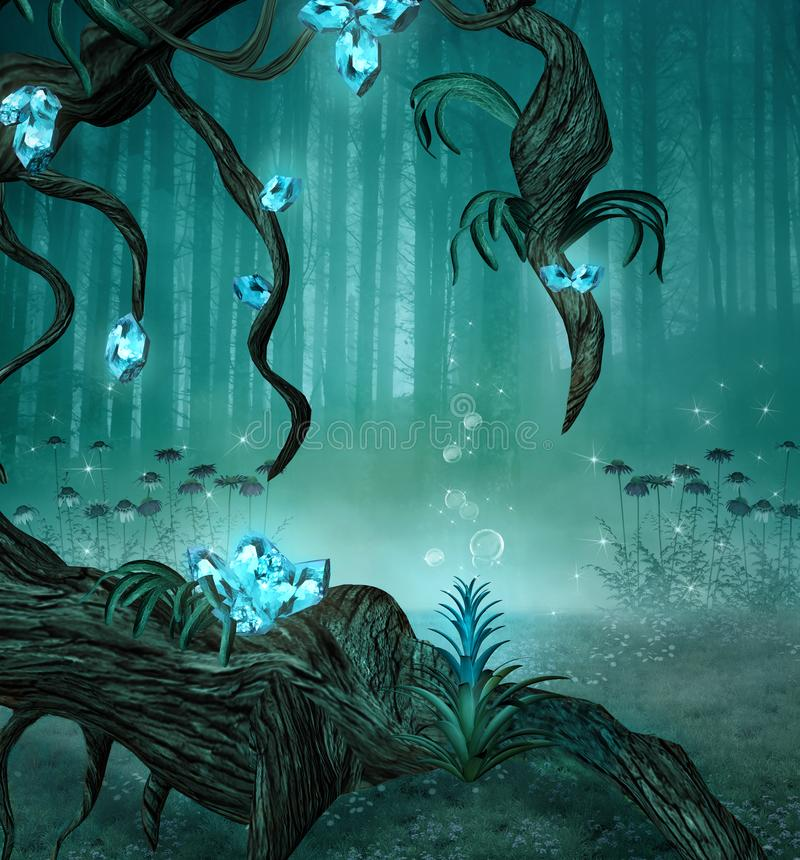 Fairy forest background with an old trunk and fantasy azure gems. Enchanted forest background with an old trunk and fantasy azure gems - 3D illustration stock illustration