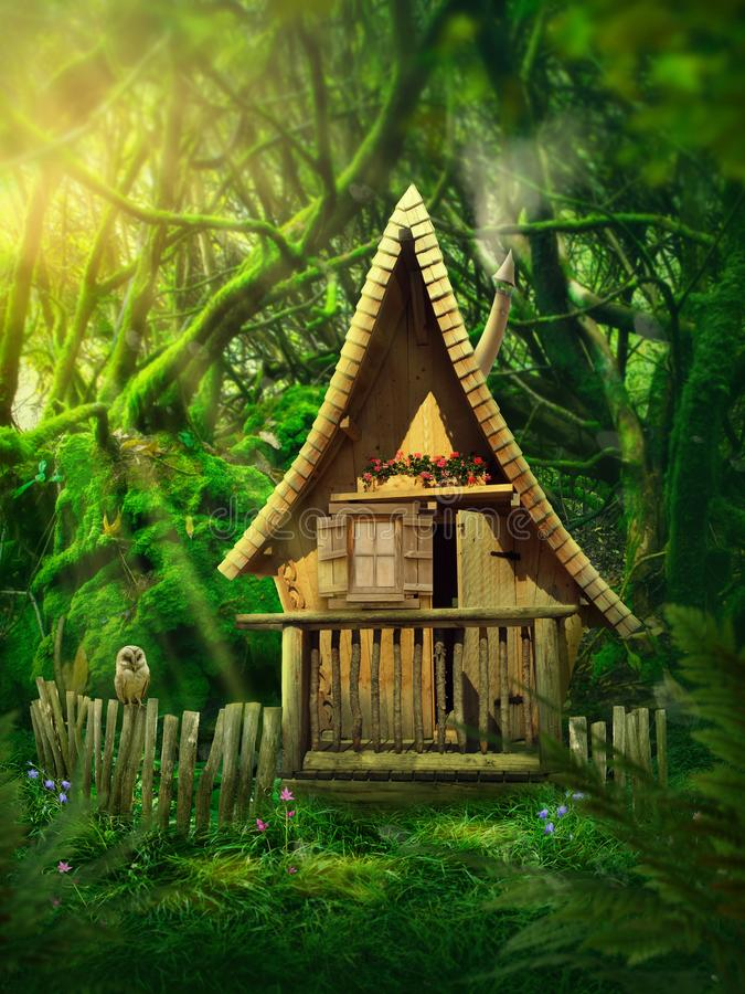 Fairy forest. With a small house vector illustration