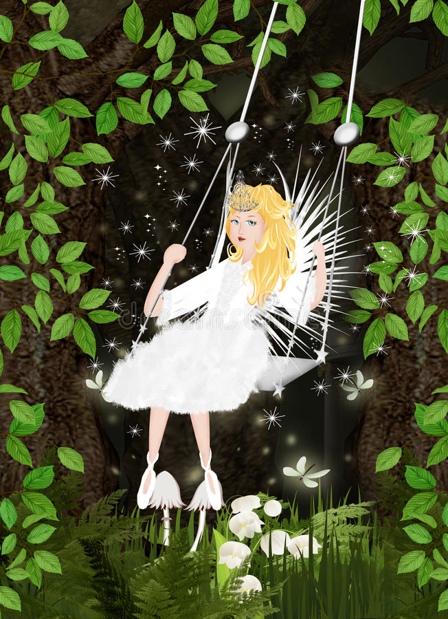 Fairy forest with fee. Background illustration with fairy forest and fee vector illustration