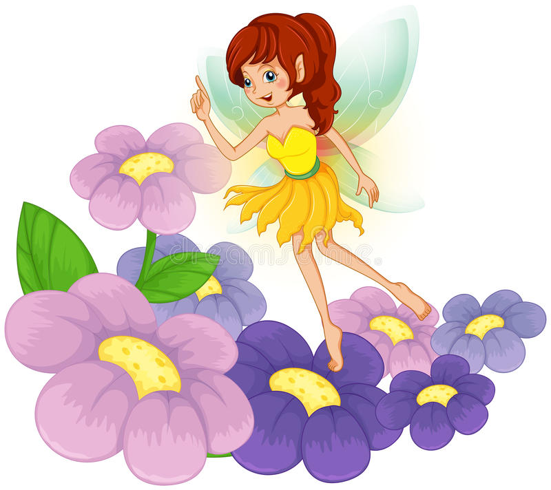 A fairy at the garden with fresh flowers. Illustration of a fairy at the garden with fresh flowers on a white background vector illustration
