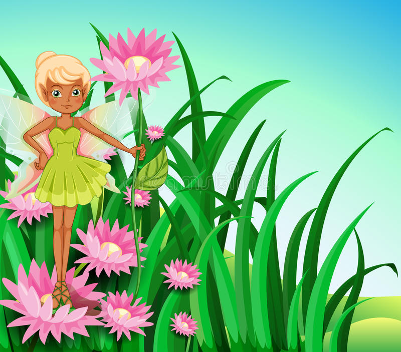 A fairy at the garden. Illustration of a fairy at the garden vector illustration