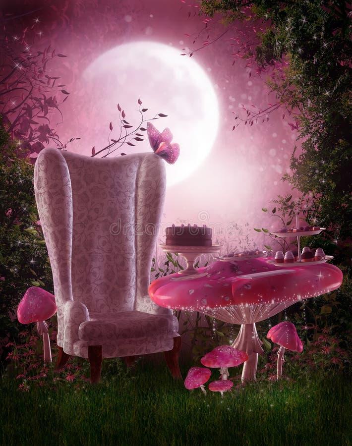 Fairy garden with pink mushrooms stock illustration