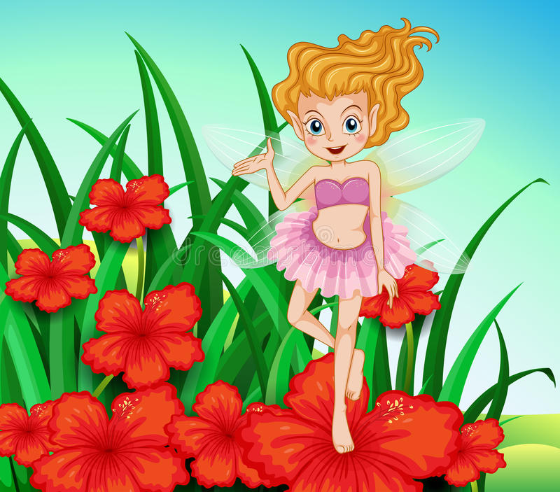 A fairy at the garden with red flowers. Illustration of a fairy at the garden with red flowers royalty free illustration