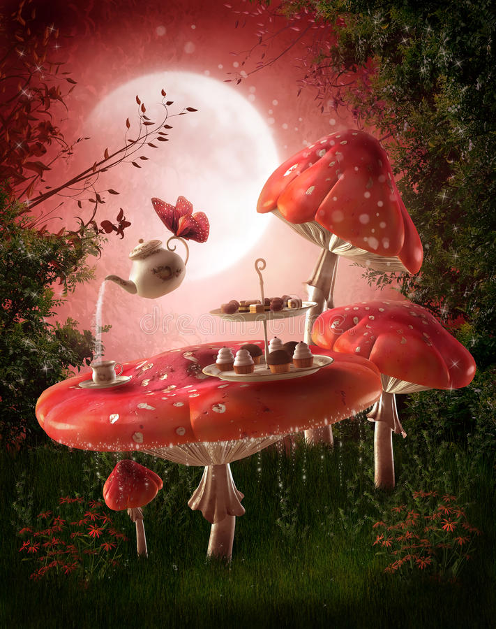 Fairy garden with red mushrooms royalty free illustration