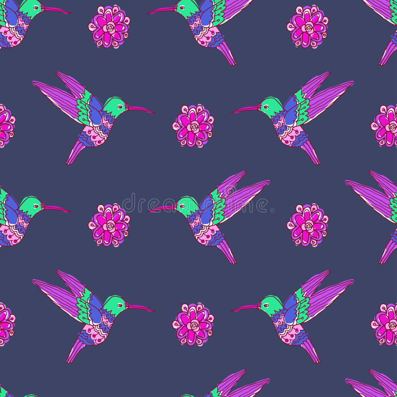 Fairy garden. vector seamless pattern. With hand drawn colibri and flowers royalty free illustration