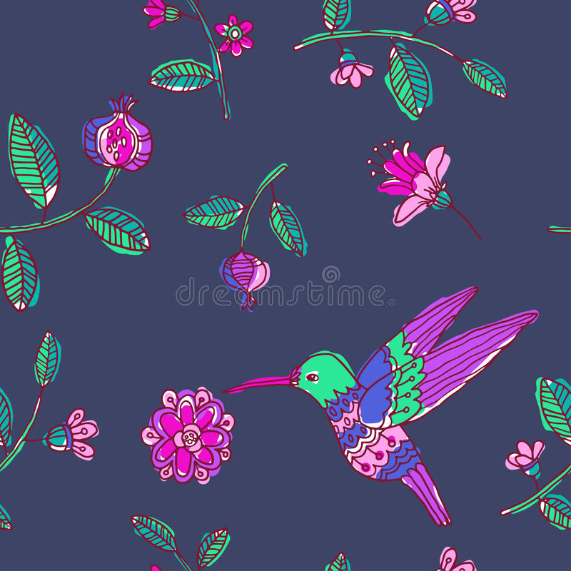 Fairy garden. vector seamless pattern. With hand drawn colibri and flowers stock illustration