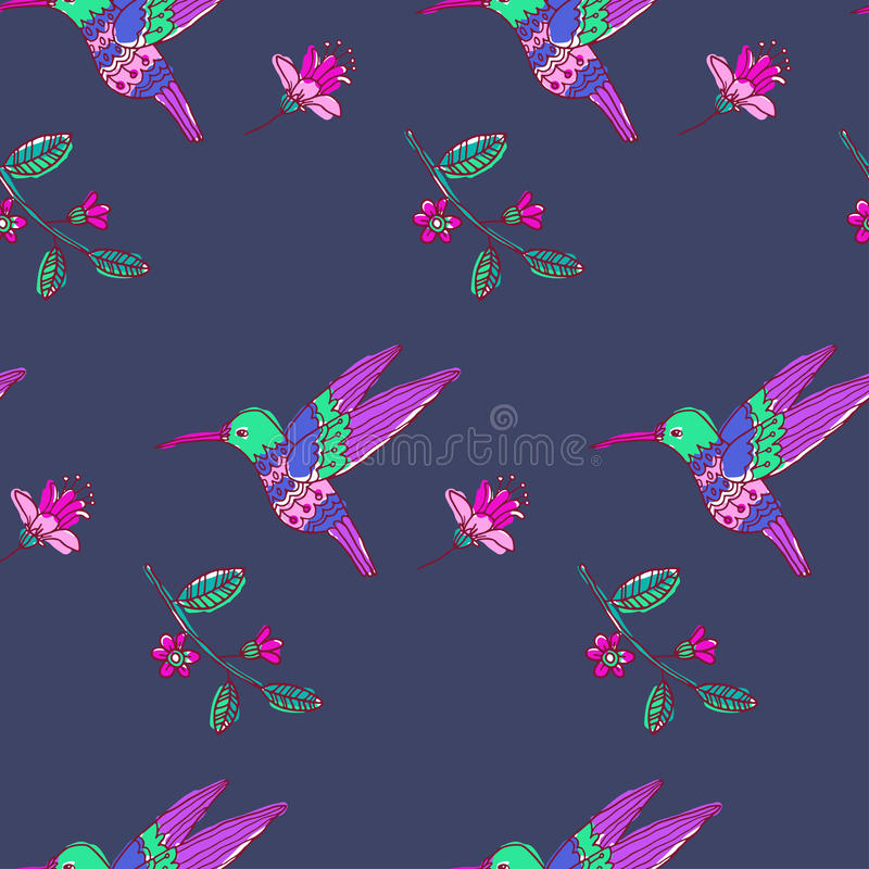 Fairy garden. vector seamless pattern. With hand drawn colibri and flowers vector illustration