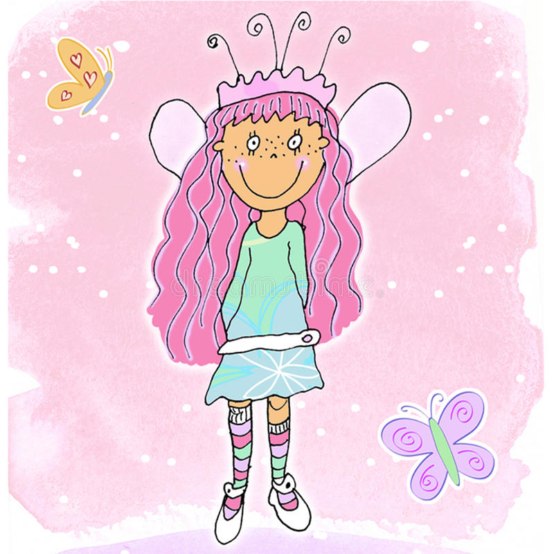 Fairy Girl - 1. A Cute Fairy Girl On a Pink Background Surrounded by Two Butterflies royalty free illustration