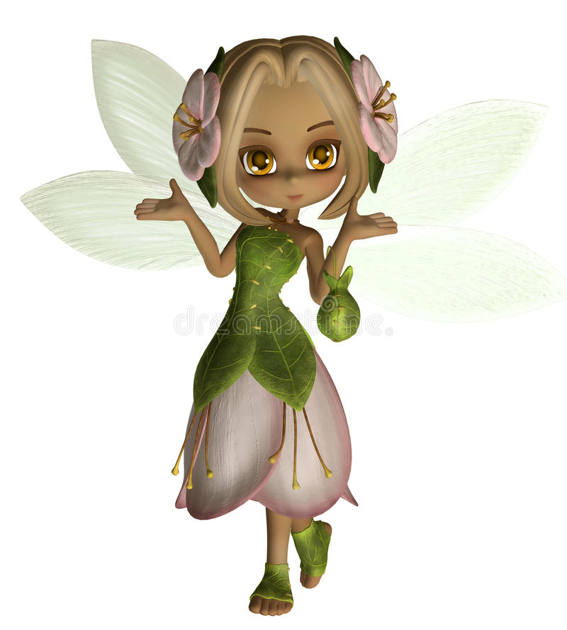 Fairy girl 1. 3D render of a cute fairy girl stock illustration