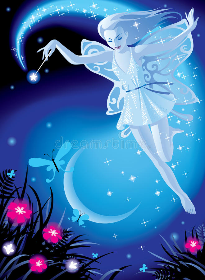 Fairy girl. Raster version of image of luminous fairy girl on a blue night background with the moon and pink flowers There is in addition a format (EPS 8